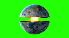 Earth core. inner structure with geological layers. Green screen footage.  royalty free illustration