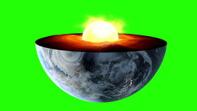 Earth core. inner structure with geological layers. Green screen footage.  vector illustration