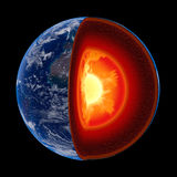 Earth core structure to scale - isolated Royalty Free Stock Image