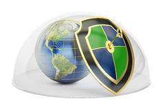 Earth covered by glass dome. Conservation and protection concept. 3D rendering on white background Royalty Free Stock Photo