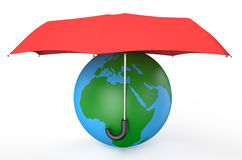 Earth covered by red umbrella Stock Images