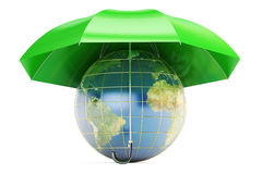 Earth covered by umbrella, 3D rendering Royalty Free Stock Images