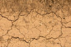Dry and cracked ground - aridity. Earth cracked by extreme drought in the French countryside royalty free stock photo