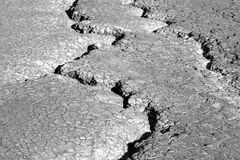 Earth cracks bw Royalty Free Stock Photos