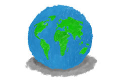 Earth created by hand made crayon color Royalty Free Stock Images
