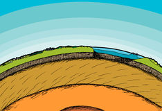 Earth Cross-Section. Cross-section illustration of the planet Earth and its atmosphere Stock Photography