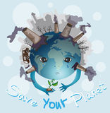 Earth is crying. Save your planet Stock Images