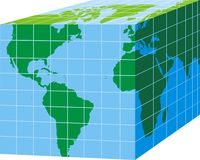 Earth cube. Green world map on blue cube isolated on white background Stock Photography