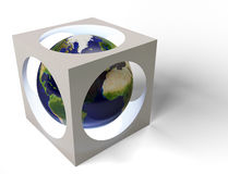 Earth in cube Stock Image