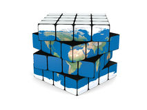 Earth cube. Concept of planet Earth made of twisting cubes, isolated on white background. Elements of this image furnished by NASA Stock Photo
