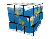 Earth cube twisting Stock Photo