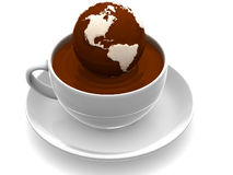 Earth on cup of coffee Royalty Free Stock Image