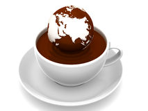 Earth on cup of coffee Stock Images