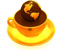Earth on cup of coffee Royalty Free Stock Photo