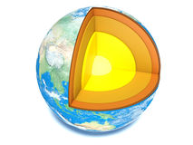 Earth cut-away with visible iron core and all the geological lay Stock Photography