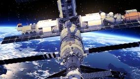 围绕Earth.3D场面旋转的空间站 库存例证