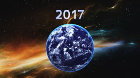 2017 and the earth Royalty Free Stock Images