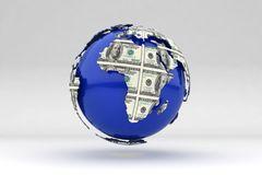 Earth 3d. Financial success around the world Stock Images