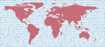 Earth data world map statistics in sea of numbers Stock Photo