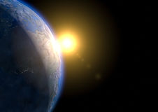Earth Dawn - furnished by NASA. Space view of a dawn. Rendered with textures by NASA Stock Images