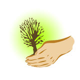 Earth day. The tree in the hand Vector Illustration
