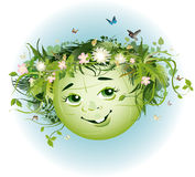 Earth Day. Vector illustration of Earth decorated with flowrs and plants smiling Royalty Free Stock Images