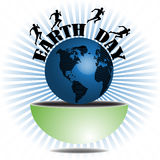 Earth Day. Abstract colorful background with athletes running around the globe. Earth Day theme Stock Images