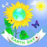 Earth day. Earth day sunflower with butterflies and ladybugs Royalty Free Stock Photos