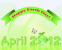 Earth Day. April 2012 with green Globe with reflection and festive banner. Vector illustration royalty free illustration