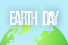 Earth Day. 22 April. Abstract green planet on blue background. Text from paper letters. Map of the planet earth. Ecological holida. Y. Vector illustration. EPS Royalty Free Stock Images