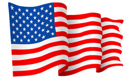 USA American flag. Waving - vector illustration isolated on white background stock illustration