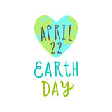 Earth day. 22 of April. Cute heart shaped Earth. Stock Photo