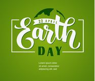 Earth Day. 22 april. Hand lettering text with abstract Earth globe Vector template design Royalty Free Stock Photo