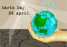 Earth Day 22 April. Human hand holding earth planet Royalty Free Stock Image