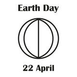 Earth Day April 22. Outline drawing of the planet Stock Photos