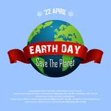 Earth Day April 22 and Red Ribbon. Illustration of Earth Day April 22 and Red Ribbon Stock Image