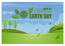 Earth Day. April 22. Think green. Spring landscape Royalty Free Stock Images