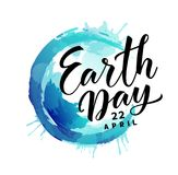 Earth Day. 22 april. Vector abstract blue Earth planet with text Royalty Free Stock Photos