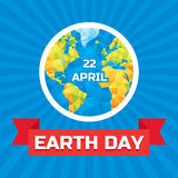 Earth day 22 April - vector concept illustration with polygonal globe. Earth day concept. Earth planet vector concept illustration Royalty Free Stock Photo