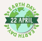 Earth Day. 22 april. Vector stamp with abstract Earth globe and decorative ribbon Royalty Free Stock Image