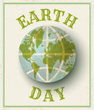 Earth day 22 april. Vector vintage poster for Earth day. Earth day 22 april Stock Photos