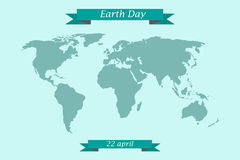 Earth Day April 22. World map with congratulatory ribbons Stock Images