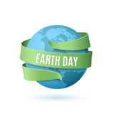 Earth day background. Earth day background with blue globe and green ribbon around,  on white background. Vector illustration Stock Images