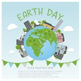 Earth Day Background concept. Flat Illustration design. hands holding a globe with buildings and trees. Royalty Free Stock Image
