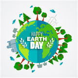 Earth Day background for environment symbols on clean earth Royalty Free Stock Image