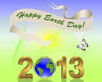 Earth Day background with gold 3-D 2013. Earth Day background. Gold 3-D 2013 with globe and banner. Vector illustration Royalty Free Stock Photo