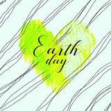 Concept of Earth day celebration. Abstract image of Earth day with heart shape of green leaves and curved lines on background Stock Illustration
