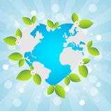 Earth day background. Heart shaped heart with flowers and leaves on light bue bokeh backround, for earth day. EPS file available Stock Images