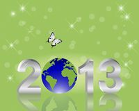 Earth Day background. Silver 3-D 2013 with globe. Royalty Free Stock Images