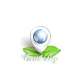 Earth Day background with the words, world globe and green leaves. Vector illustration Stock Photo